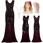 1920s 1930s Flapper Dress Costume Long Prom Gatsby 20s Party Clubwear 8 10 12 14