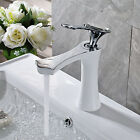 Deck Mounted Bathroom Basin Faucet White Painting Single Handle Sink Mixer Tap