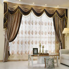 Brown Plain Chenille Waterfall and Swag living room Valance Curtains customize