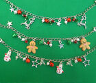 Christmas Jingle Bell Charm Bracelet With Gingerbread Man Snowman & Reindeer