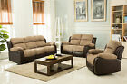 New California Electric Jumbo Cord / Faux Leather Recliner Sofa - Beige / Brown