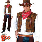 Western Cowboy Rodeo Mens Fancy Dress Wild West Brown Adult Costume Outfit + Hat