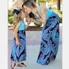 Mother and Daughter Family Matching Outfits Casual Boho Floral Long Maxi Dress