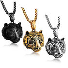 """Men's Punk Stainless Steel Animal Tiger Head Shape Pendant Chain Necklace 24"""" image"""