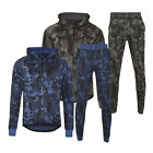 Mens Gym Contrast Piping Slim Fit Full Tracksuit Top Bottoms Hooded Set Fleece