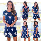 UK Womens Print Swing Hollow Back Skater Holiday Ladies Casual Party Short Dress