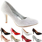 NEW WOMENS LADIES LOW MID HIGH KITTEN HEEL WORK OFFICE WEDDING COURT SHOES SIZE
