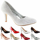 WOMENS LADIES LOW MID HIGH KITTEN HEEL WORK SMART CASUAL COURT SHOES SIZE PUMPS