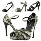 Ladies Stiletto Ankle Strap Diamante Womens High Heel Peep Toe Sandals Shoes