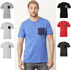 Mens Canvas Contrast Chest Pocket Short Sleeve Crew Neck T-Shirt