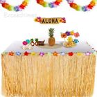 9ft Tropical Hawaiian Luau Table Grass Skirt Flower BBQ Summer Beach Party Decor