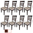 vidaXL Dining Chairs Rubberwood Kitchen Seats Brown and White/Cream 2/4/6/8 pcs