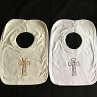 BABY BOYS GIRLS 100% COTTON BIB CHRISTENING DAY WEDDING HOLY CROSS WHITE IVORY
