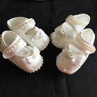 BABY GIRLS SOFT SATIN PRAM SHOES CHRISTENING WEDDING PALE IVORY  6-12 MONTHS