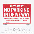 "TOW AWAY NO PARKING IN DRIVEWAY Sign 9x12"" inch Weatherproof Plastic x 1—2—3 pcs"