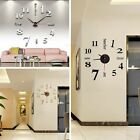 Modern DIY Large Wall Clock 3D Mirror Surface Sticker Home Office Fridge Decor