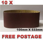 10pcs 100mm X 533mm Sanding Belts 40 - 120 Grit or Mixed Heavy Duty Cloth Backed