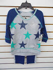 Girls Pogo Club 2pc Navy, Green,  Gray w/ Stars Legging Set Size 4 - 10/12