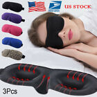 US 3PCS 3D Soft Padded Travel Shade Cover Rest Relax Sleeping Blindfold Eye Mask