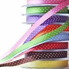 10mm POLKA DOT SATIN RIBBON Spotty Single Sided Tying Ribbon 100, 500, 1000m UK