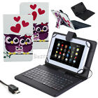 """Heart Owls PU Leather Case Cover Micro USB Keyboard For 7"""" 8"""" 9"""" 10.1"""" Tablets"""