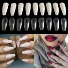 100/600Pcs Long Nail Art Tips Coffin Shape Full Cover False Ballerina Nails