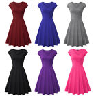 Women's Vintage Retro Elegant A Line Cap Sleeve V Neck Tunic Casual Dresses
