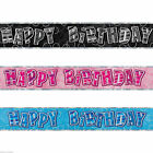 9ft Foil BIRTHDAY BANNER Glitz Party Decorations Age 18 21 30 40 50 60 70 80 90