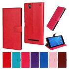 For Sony Xperia M4 Z3 Z5 Mini Crazy Horse Leather Wallet Holster Flip Case Cover