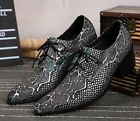 CHic Mens Retro Leather Business Lace Up Shoes Dress Pointy Toe Buckle Oxfords