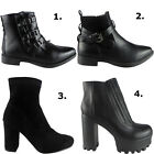 Womens Ladies Faux Leather Elastic Chelsea Chunky Heel Ankle Boots Shoes Size