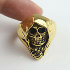Mens Punk Cool Carved Evil Skull Head Stainless Steel Biker Ring Gold Tone