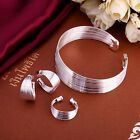 Jewelry  Set Necklace Silver Ladies Bracelet Earrings Heart  Fashion +B925