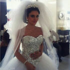 Crystal/Diamante Tulle Sleeveless Wedding Dresses Bridal Gown Dresses With Veils