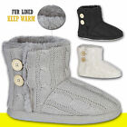 Womens Ladies Snug Boots Knitted Warm Fur Lined Winter Girls Cosy Button Booties