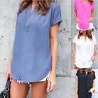 Women's Fashion Short Sleeve Chiffon Blouse Top Summer Casual Loose Shirt Tops