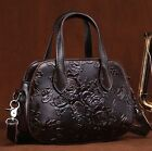 New Women Genuine Cow Leather Shoulder Messenger Bag Embossed Purse Handbag S