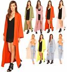 Duster Coat Long Kimono Ladies Womens Maxi Waterfall Jacket Blazer Dress Plain