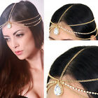 WOMEN GOLD HEAD Piece headband METAL SIDE WAVES CHAIN FASHION Big RHINESTONES
