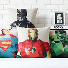 "America Super Heroes Squares Linen Pillow Case Cotton Cushion Cover Sham 18""x18"""