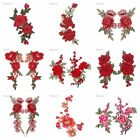 Red Rose Flower Applique Sew on Patch Badge Embroidered Cloth Floral Dress Craft