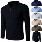 2017 Fashion Men Stylish Long Sleeve Shirt V-neck Casual Slim Fit Polo Tee Shirt