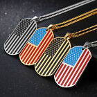"""Silver/Gold USA American Flag Dog Tag Pendant Necklace 24"""" L"""