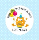 Monster Birthday Stickers Thank You For Coming To My Party Gift Bag Stickers