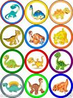 12 round edible cake topper DINOSAUR  -  Wafer paper or Icing