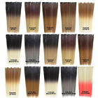 "22"" 50g Clip In Straight Dip Dye Ombre Slice Hair Extensions 5 Clips Hairpieces"