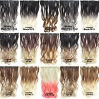 "22"" Clip In Long Wavy Curly Ombre Slice Hair Extensions Black To Dim Gray 50g/pc"