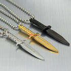 Silver/Black/Gold Tone Men's Stainless Steel Knife Dagger Chain Necklace Pendant