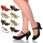WOMENS LADIES MID HEEL MARY JANE CUT OUT HEART 50'S 60'S COURT SHOES PUMPS SIZE