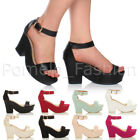 WOMENS LADIES PLATFORM HIGH HEEL PEEPTOE FLATFORM WEDGE PARTY SANDALS SHOES SIZE